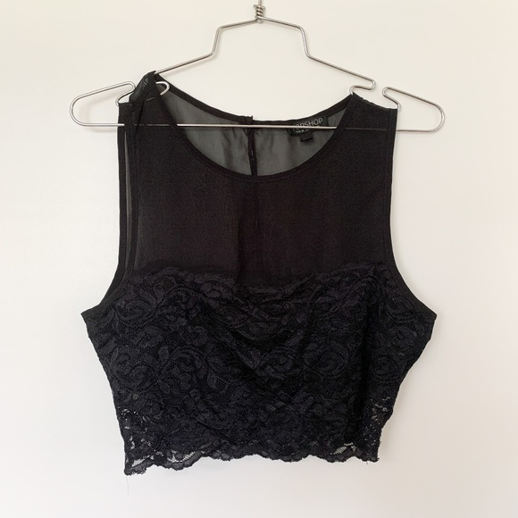 3/$25 Topshop Black Sheer Lace Cropped Top Intimate sz 6